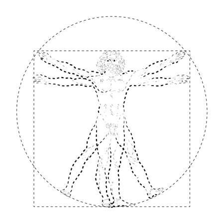 Stylized sketch of the Vitruvian man or Leonardos man. Homo vitruviano vector illustration based on Leonardo da Vinci artwork Ilustração