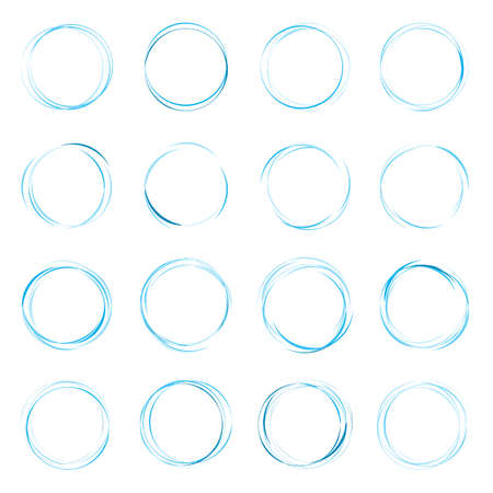 Hand drawn ink line circles vector illustration. Circular doodle sketches scribbles for round frames isolated on white with place for text. Pencil handwritten art imitation