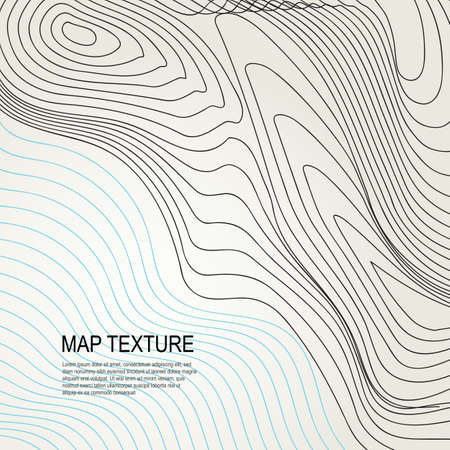 Topographical vector background with place for text. Geodesy contouring map texture with line contours of terrain. Geographic relief mountains landscape. Topography and cartography pattern