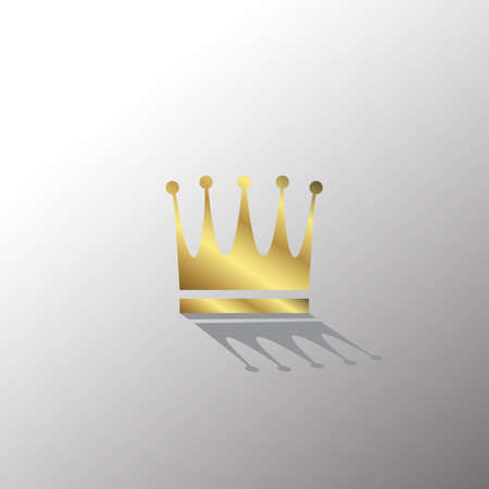 Gold Crown Icon In Flat Style with Shadow. Golden Royal Symbol Diadem with Hard Back Light. Coronation Vector Illustration