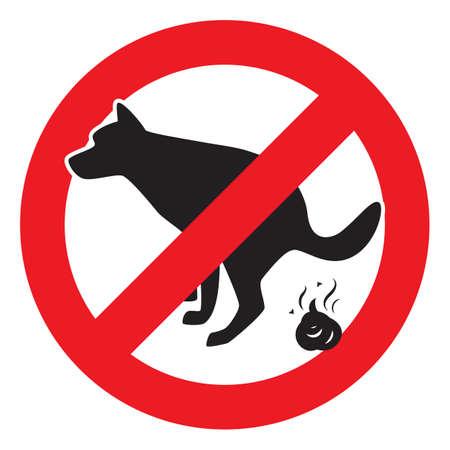 Dog Pooping Icon Vector Illustration. Pet Poop Forbidden Sign Illustration