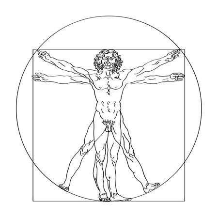 Schizzo stilizzato dell'uomo vitruviano o dell'uomo di Leonardo. Illustrazione vettoriale di Homo vitruviano basata sull'opera d'arte di Leonardo da Vinci Vettoriali