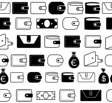 Wallet Vector Icon Seamless Borders or Lines. Pocketbook Pictograms for Web, Logo, App, UI. Simple Vector Pattern or Illustration Isolated