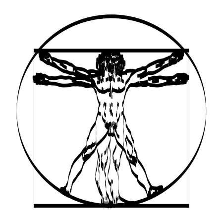Stylized sketch of the Vitruvian man or Leonardo's man. Homo vitruviano vector illustration based on Leonardo da Vinci artwork Illustration