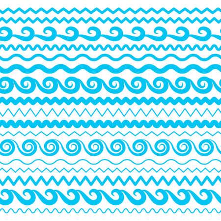 Olas de agua de mar azul Vector fronteras sin costuras, elementos horizontales de Aqua o colección de líneas de marea. Conjunto de divisores ondulados de repetición decorativos, marcos o pinceles aislado sobre fondo blanco.