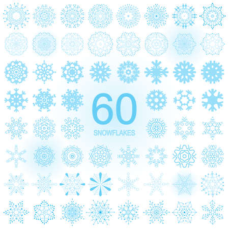 Set of snowflake blue icon isolated on white background. Xmas snow flake element collection for winter Christmas or New Year design and decoration. Refrigerator and cold vector symbol or logo