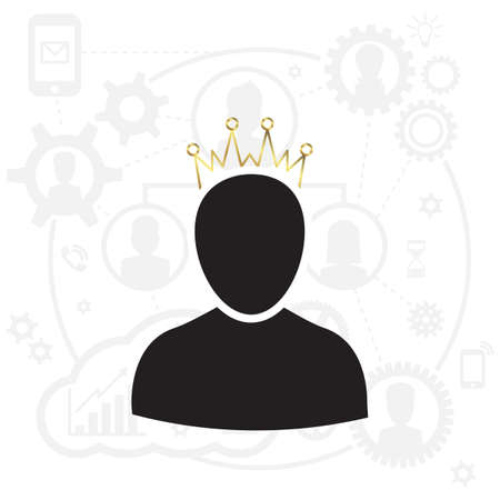 Admin Privileged Profile with Gold Crown Vector Illustration. VIP King User Icon in Flat Style. Priority Customer Concept or Logo Logo