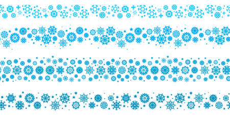 Blue snowflake vector seamless borders or lines isolated. Endless snow flake elements, brushes for winter design and decoration. Refrigerator vector symbol or logo