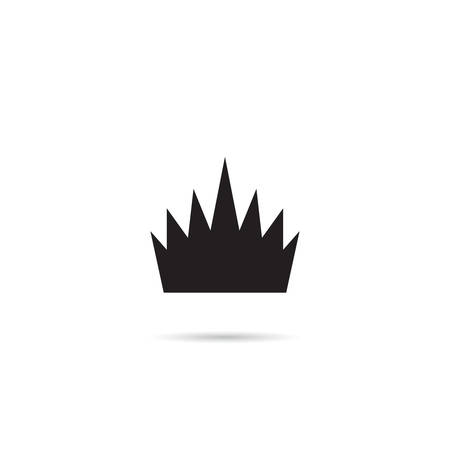 Simple Crown Icon with Shadow. Royal Symbol Diadem Isolated on White Background. Coronation Vector Illustration Vettoriali