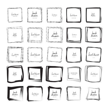 Hand drawn ink line squares vector illustration. Square doodle sketches scribbles for frames isolated on white with place for text. Pencil handwritten art imitation