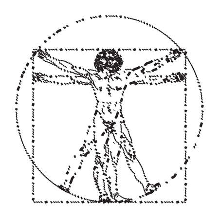 Stylized sketch of the Vitruvian man or Leonardos man. Homo vitruviano vector illustration based on Leonardo da Vinci artwork Illustration
