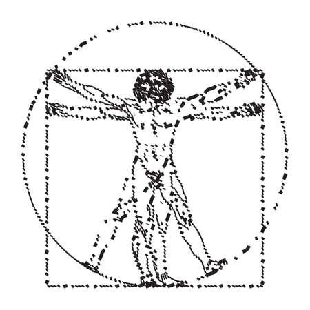 Stylized sketch of the Vitruvian man or Leonardo's man. Homo vitruviano vector illustration based on Leonardo da Vinci artwork Иллюстрация