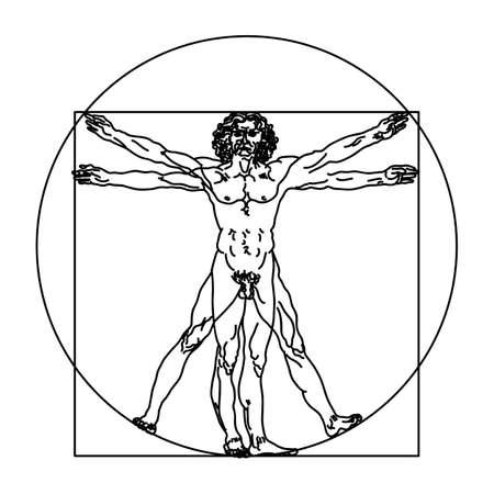 Schizzo stilizzato dell'uomo vitruviano o dell'uomo di Leonardo. Illustrazione vettoriale di Homo vitruviano basata sull'opera d'arte di Leonardo da Vinci