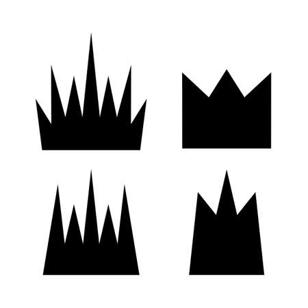 Simple Crown Icon with Shadow. Royal Symbol Diadem Isolated on White Background. Coronation Vector Illustration Vectores