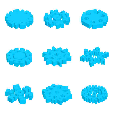 Set of 3d Vector Isometric Snowflake Icon with Various Perspective Shapes. Simple Blue Snow Flake Element for Christmas Design and New Year Decoration, Refrigerator Symbols or Logo with a Shadow