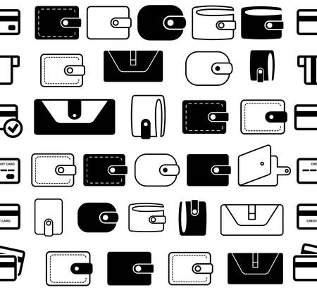 Wallet Vector Icon Seamless Borders or Lines. Pocketbook with Credit Card and Money Symbols for Web, Logo, App, UI. Simple Vector Illustration Isolated