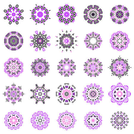 Indian mandala set or simple snowflake icon collection isolated on white background. Snow flake element for Christmas winter design and New Year decoration. Refrigerator vector symbols or logo 向量圖像