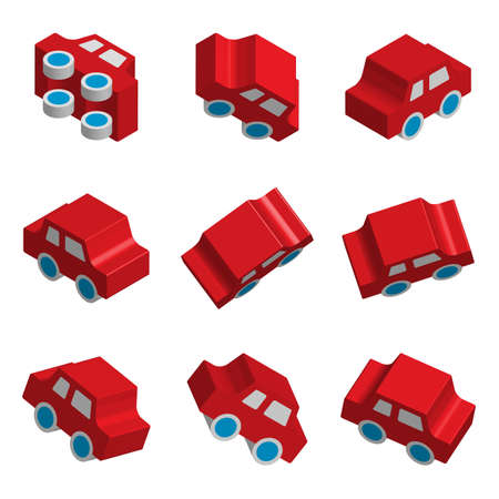 Set of 3d Isometric Toy Car Vector Icons with Various Perspective and Different Directions. Red Glossy Vehicle Symbols or Automobile Signs Collection Isolated for Traffic Regulations Illustration