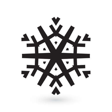Simple snowflake icon isolated on white background. Snow flake element for Christmas winter design and New Year decoration. Refrigerator vector symbols or logo