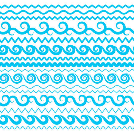 Blue Sea Water Waves Vector Seamless Borders, Horizontal Aqua Elements or Tide Lines Collection. Set of Decorative Repeat Wavy Dividers, Frames or Brushes Isolated on White Background