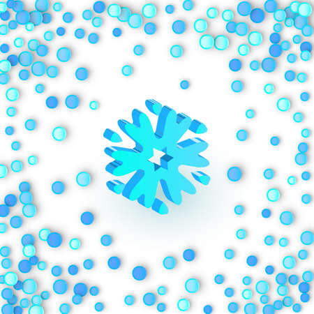 Simple blue snowflake icon on carnaval confetti background. Snow flake element for Christmas winter design and New Year decoration, refrigerator vector symbols or logo with a shadow