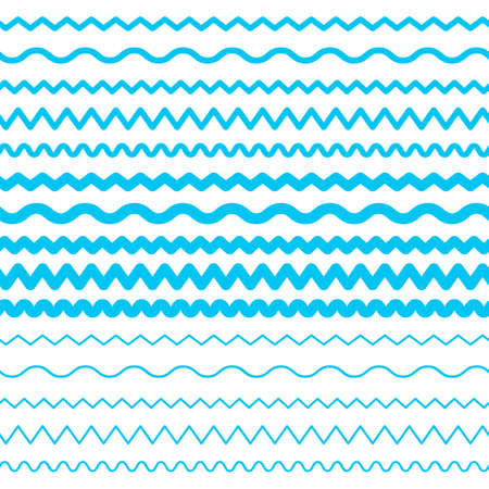 青い海の水の波ベクトルシームレスな境界線、水平アクア要素または潮の線コレクション。白い背景に分離装飾的なリピート波状のディバイダー、フレームまたはブラシのセット