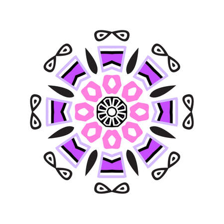 Indian mandala or simple snowflake icon isolated on white background. Snow flake element for Christmas winter design and New Year decoration. Refrigerator vector symbols or logo Illustration