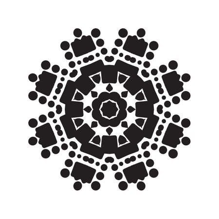 Simple snowflake icon with dots and round elements isolated on white background. Snow flake element for Christmas winter design and New Year decoration. Refrigerator vector symbols or logo