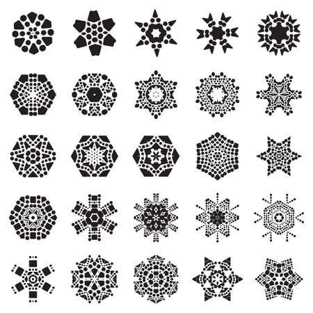 Set of Simple snowflake icon with dots and round elements isolated on white background. Snow flake element for Christmas winter design and New Year decoration. Refrigerator vector symbols or logo