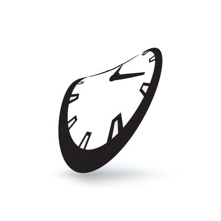 Melting clock simple vector icon isolated on white background. Meited time, organisation of the future or expiration concept with watch symbol Иллюстрация