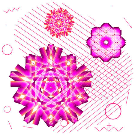 Indian mandala, flower icon or modern snowflake symbol isolated. Snow flake element for Christmas winter design and New Year banner decoration