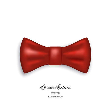 Bow tie or neck tie simple vector icon isolated on white background. Realistic 3d vector illustration of red silk or satin bowtie