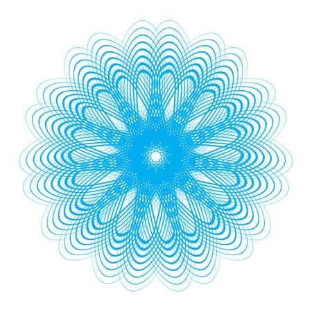 Niebieska rozeta giloszowa lub ilustracja tło wektor spirograf. Ramki do dyplomów, wzór certyfikatu bezpieczeństwa lub ozdoba ochronna na pieniądze Ilustracje wektorowe