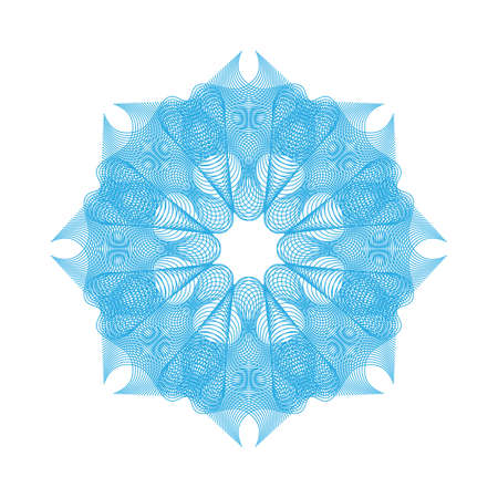 Blue guilloche rosette or spirograph background vector illustration. Diploma frames, security certificate pattern or protective money ornament
