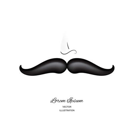 Funny 3d vector realistic mustaches isolated on white background. Curly black vintage mustache, moustache or whisker hipster fashion illustration