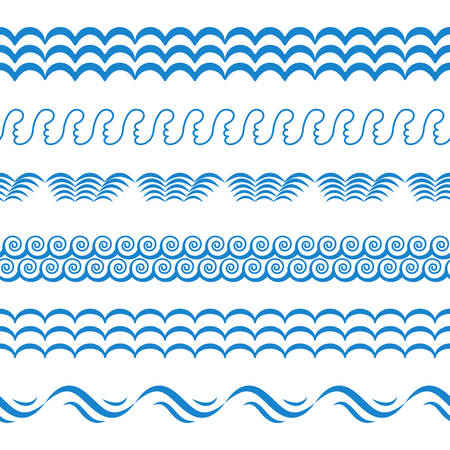 Blue Sea Water Waves Vector Seamless Borders, Horizontal Aqua Elements or Tide Lines Collection. Set of Decorative Repeat Wavy Dividers, Frames or Brushes Isolated on White Background Vector Illustration