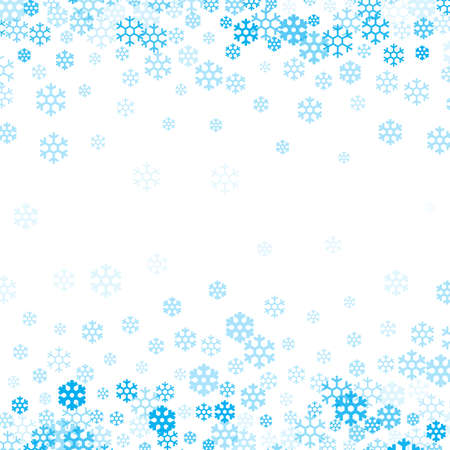 Falling snow flakes background for Christmas and Happy New Year design. Snowstorm or snowflake blue winter pattern vector illustration