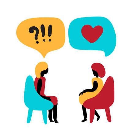 Psychologia rodziny, zdrowia psychicznego lub koncepcji wsparcia rehabilitacji rodzinnej. Terapia par i psychoterapia par wektor logo i ilustracja Logo