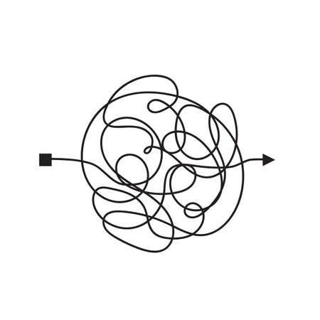 Manera confusa y complicada con la ruta garabateada como ilustración del concepto de caos. Línea vectorial confusa que ilustra el camino de la solución de problemas difíciles