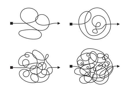 Modo confuso e complicato con percorso scarabocchiato come illustrazione del concetto di caos. Linea vettoriale confusa che illustra la via della difficile soluzione del problema Vettoriali