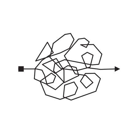 Confused and complicated way with scribbled path as chaos concept illustration. Confusing vector line illustrating the way of difficult problem solusion Vettoriali