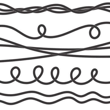 Ensemble d'icône de corde vectorielle torsadée ou de cordage avec des boucles isolées. Collection de lignes de ficelle de jute torsadées décoratives
