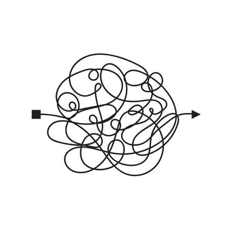 Confused and complicated way with scribbled path as chaos concept illustration. Confusing vector line illustrating the way of difficult problem solusion