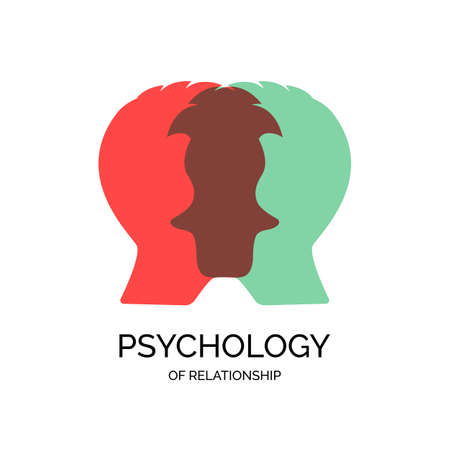 Psychology family, mental health or family rehab support concept. Couple therapy and couple psychotherapy vector logo and illustration