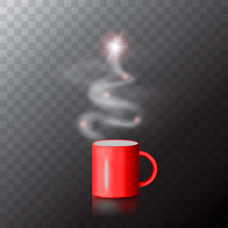 Red coffee cup with Christmas tree made of steam. New Year vector collage with Xmas drink