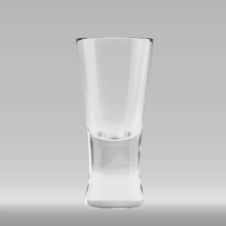 Empty transparent 3D rendered shooters glass for drinking alcohol shots at the bar. Realistic vector illustration of blank glassy shotglass stemware Standard-Bild - 118425474