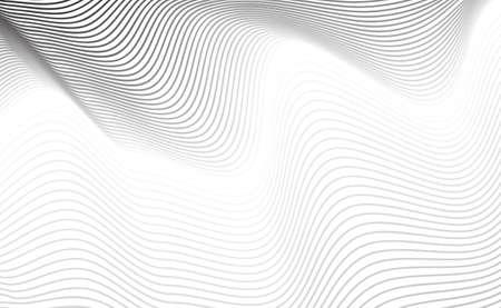 Textura de línea curva diagonal abstracta o patrón rayado gris sobre fondo blanco. Fondo geométrico con rayas finas onduladas y Copyspace para diseño web