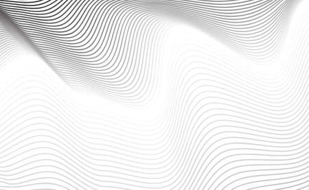 Texture de ligne de courbe diagonale abstraite ou motif bordé de gris sur fond blanc. Fond géométrique avec de fines rayures ondulées et fond pour la conception Web