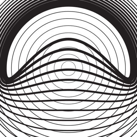 Black and white concentric line circle background. Wash and storm concept or simple vector illustration of ripple effect