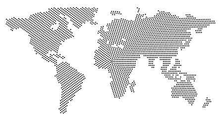 Mapa świata globalnego wektor na białym tle. Prosta sylwetka mapy świata lub atlas ziemi ze schematycznymi konturami kontynentów Ilustracje wektorowe